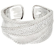 Judith Ripka Sterling 5.30 cttw Pave DiamoniqueTextured Cuff - J340841