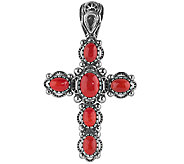 American West Sterling Red Coral Cross PendantEnhancer - J341141
