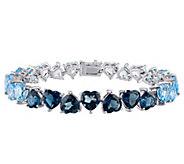 Sterling 37.40 cttw Shades of Blue Topaz OmbreBracelet - J343341