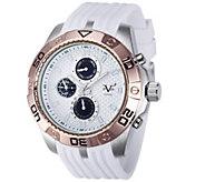 V19.69 Italia Mens White & Rosetone Watch w/ Rubber Strap - J343941