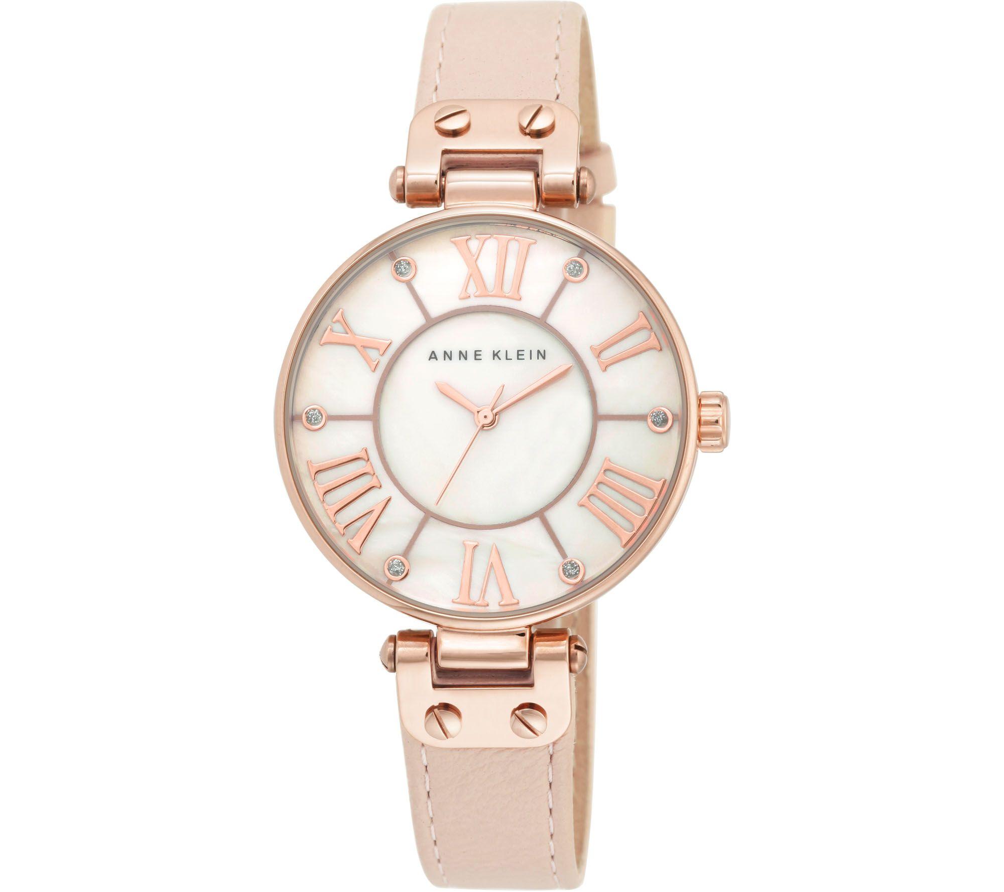 Anne klein pink leather strap watch w glitteraccents for Anne klein leather strap