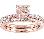 14K 1.00 ct Morganite & 6/10 cttw Diamond Rin gSet - J345641