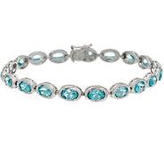 Teal Blue Apatite Sterling Silver 8 Tennis Bracelet - J346141