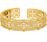 Judith Ripka 14K Clad Cushion Diamonique Cuff Bracelet - J347841