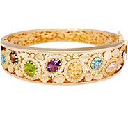 As Is Arte d Oro Average Multi-gemstone Oval Bangle 18k Gold, 27.6g - J353141