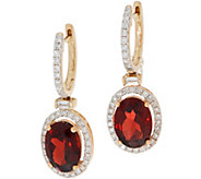 4.85 cttw Garnet & 6/10 cttw Diamond Drop Earrings, 14K - J353541