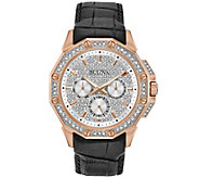 Bulova Mens Crystal Watch with Black Leather Strap - J375141