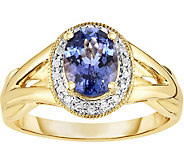 1.10 ct Tanzanite & Diamond Accent Halo Ring, 14K Gold - J376441
