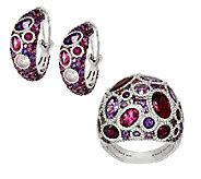 Judith Ripka Sterling Gemstone Cluster Ring or Earrings - J53741