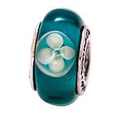 Prerogatives Sterling Blue/White Floral Glass Bead - J108842