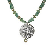 Or Paz Sterling Milky Aquamarine & Pearl Necklace - J111342