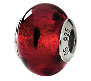 Prerogatives Sterling Black Spotted Italian Murano Glass Bead - J111542