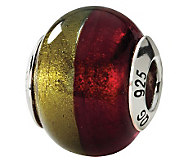 Prerogatives Sterling Gold/Red Italian Murano Glass Bead - J111742