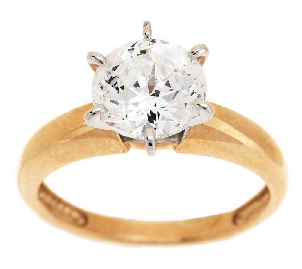 diamonique 100 facet 2 ct solitaire ring 14k gold page 1 qvccom - Qvc Wedding Rings