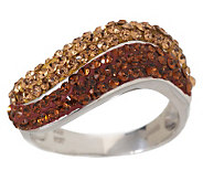 Sterling Crystal Double Stack Wave Ring - J264242