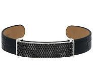 2.70 ct tw Black Spinel Pave Leather Sterling Bracelet - J284442