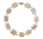 As Is Smithsonian 7-1/4 Mother- of-Pearl Quilt Bracelet, 14K - J286642