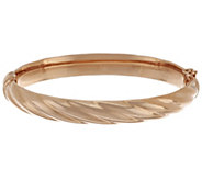 Bronze Average Polished Ribbed Oval Hinged Bangle by Bronzo Italia - J288542