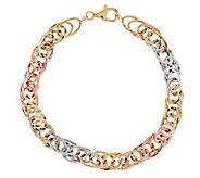 14K Gold 7-1/4 Intertwining Rolo Link Bracelet, 3.6g - J289742