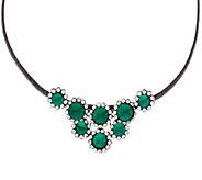 Susan Graver Emerald Rivoli Stone Necklace - J296442