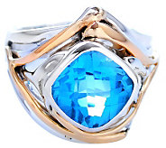 Hagit Gorali 4.00 ct Blue Topaz Ring, Sterling/14K - J308242