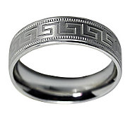 Sterling 6MM Greek Key Design & Milgrain U nisex Band Ring - J312042