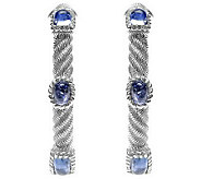Judith Ripka Sterling Multi-Shape Blue Tanzanite Hoop Earring - J314142
