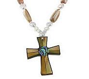 Lee Sands Inlay Cross Pendant w/ 18 Bead Necklace - J315042