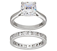 Diamonique 100-Facet Cushion Bridal Ring Set, Platinum Clad - J321142