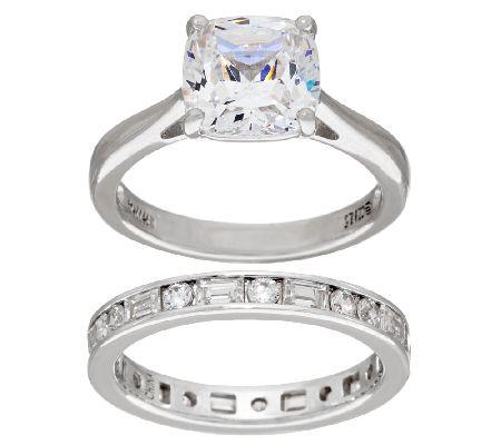 diamonique 100 facet cushion bridal ring set platinum