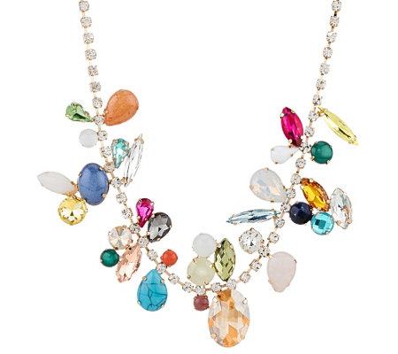susan graver multi stone statement necklace j321542
