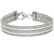 Italian Silver Sterling 7-1/4 Double Row Crystal Mesh Bracelet, 15.9g - J323842