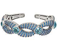 Judith Ripka Sterling Blue Topaz & Pave Cuff Bracelet - J324042