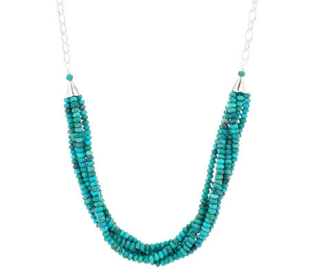 quot as is quot turquoise 18 quot multi strand bead sterling necklace