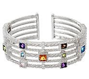 Judith Ripka Sterling 2.80 cttw Multi-Gemstone Cuff Bracelet - J325642