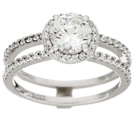 Diamonique Bridal Double Row Ring Sterling
