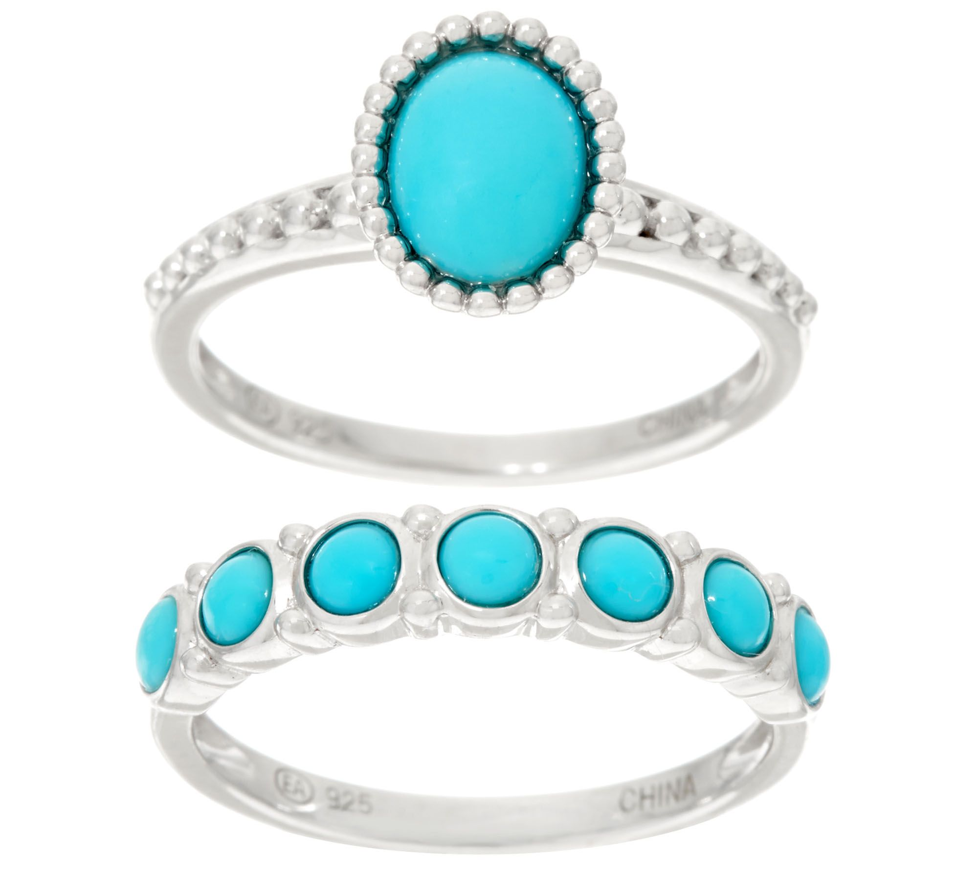 sleeping beauty turquoise sterling silver ring and band ring page 1 u2014 qvccom