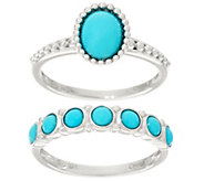Sleeping Beauty Turquoise Sterling Silver Ring and Band Ring - J329542