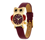 C. Wonder Owl Motif Leather Strap Watch - J329642