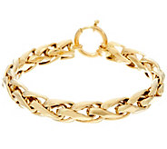 14K Gold 7-1/4 Polished Woven Wheat Bracelet, 9.5g - J330442
