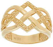 14K Gold Polished and Diamond Cut Celtic Knot Design Ring - J331542