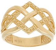 14K Gold Polished and Diamond Cut Celtic Knot Design Ring - J331542