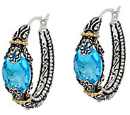 Barbara Bixby Sterling & 18K 5.00 cttw Blue Topaz Hoop Earrings - J331642