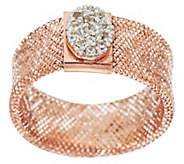 As Is Italian Gold 14K Oval Crystal Station Mesh Stretch Ring - J332542