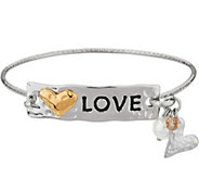 Stainless Steel Inspirational Multi-Charm Message Hinges Bangle - J335342