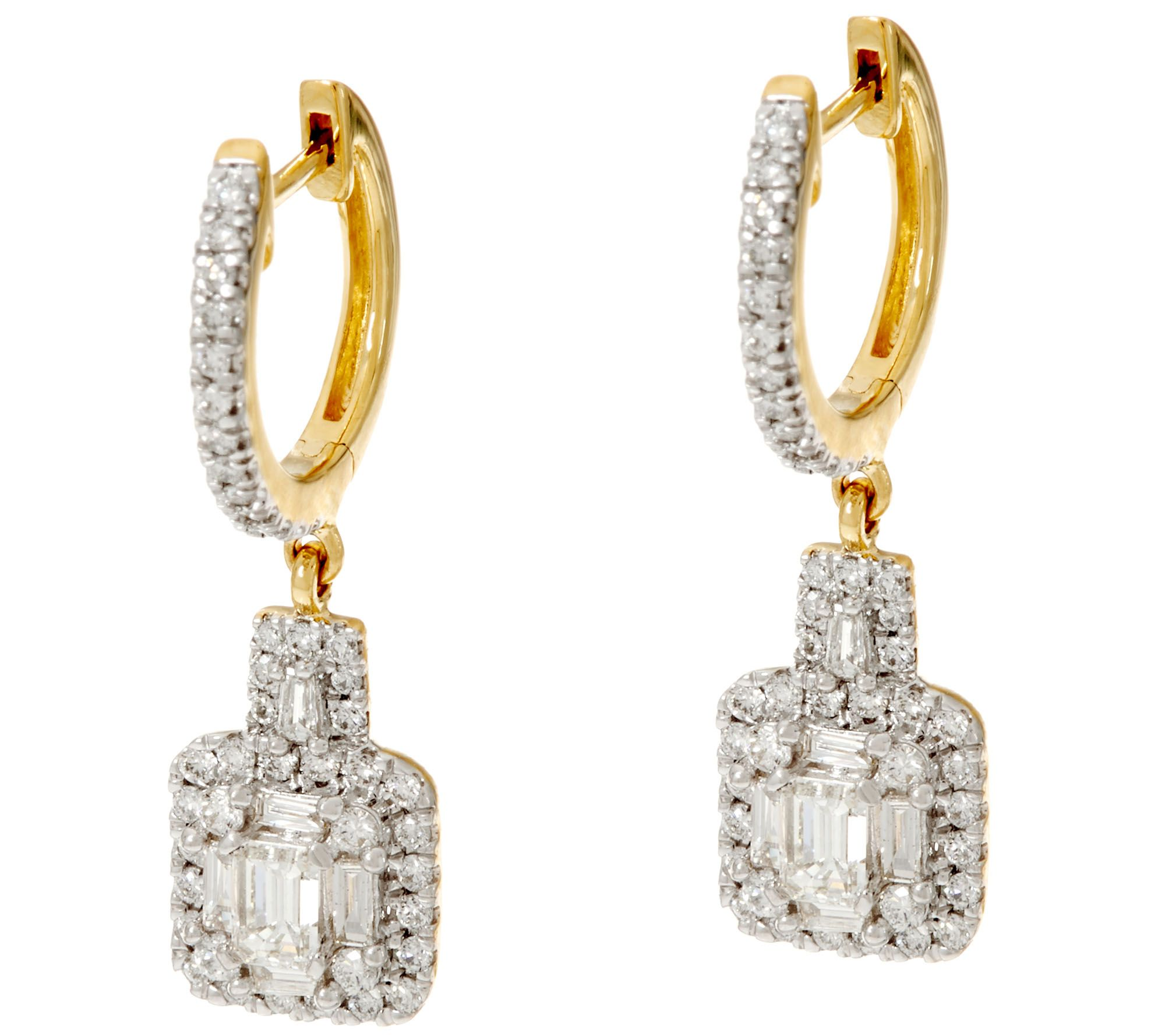 Quot As Is Quot Round Amp Emerald Cut Diamond Earring 14k 1 00 Cttw