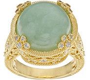 Judith Ripka Sterling & 14K Clad Jade & Diamonique Estate Ring - J349042