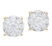 98 Facet Diamond Cluster Design Studs, 1.00 cttw, 14K, by Affinity - J352242