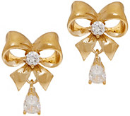 Diamonique Bow Stud Earrings, Sterling or 14K Clad - J353442