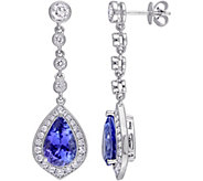 5.20 cttw Tanzanite & 1-1/2 cttw Diamond DangleEarrings, 14K - J377742